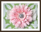 LiliBug Boutique Pink Vintage Flower Headband - Perfect for Newborns to Toddlers