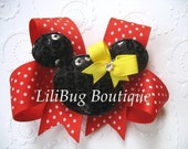 LiliBug Minnie Mouse HairBow with Swarvoski Crystal