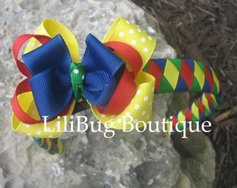 LiliBug Back To School Woven Headband and Hairbow Set