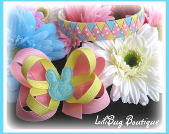 Spring Sparkle Bunny 2-in-1 Woven Headband and HairBow Set - Perfect for Easter