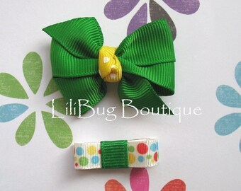 LiliBug Preppy Green / Yellow Newborn Snap Clip Hair Bow Duo