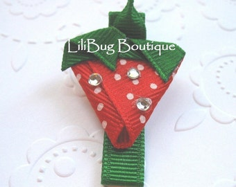 LiliBug STRAWBERRY Fields with BLING Hair Clippie