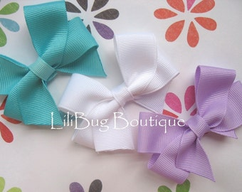 LiliBug Easter Spring Solids Hair Bow Trio