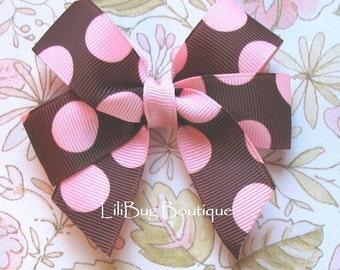 LiliBug Chocolate Brown and Pink DOT Hair Bow