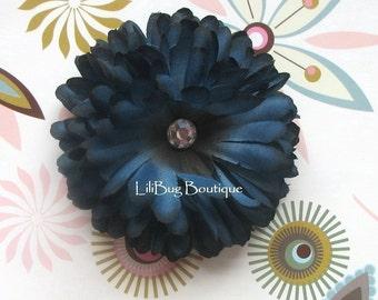 LiliBug Beautiful MIDNIGHT BLUE Flower Hair Clip