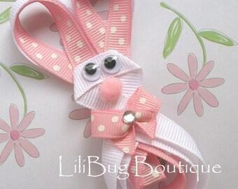 LiliBug Hoppity Easter BUNNY Hair Clip with Swarvoski Crystal