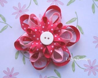 LiliBug Pink Polka Dot Flower Loopy Hair Bow