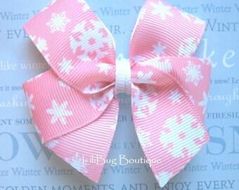 LiliBug PINK SNOWFLAKE Winter Holiday Hair Bow