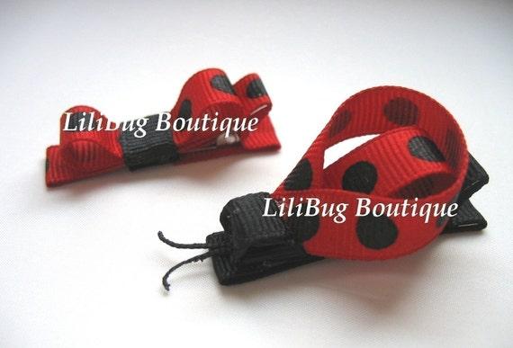 LiliBug LadyBug II Hair Bow Set