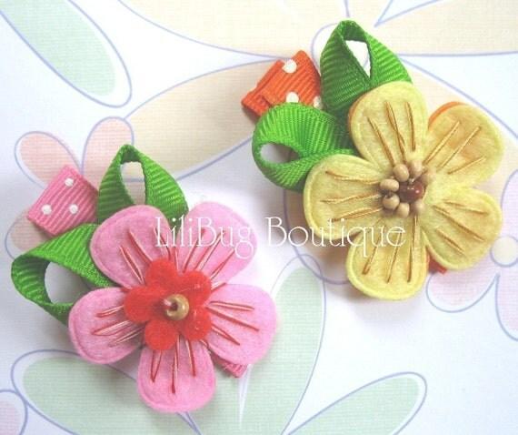 LiliBug Summer Felt Flower Hair Clippie Set