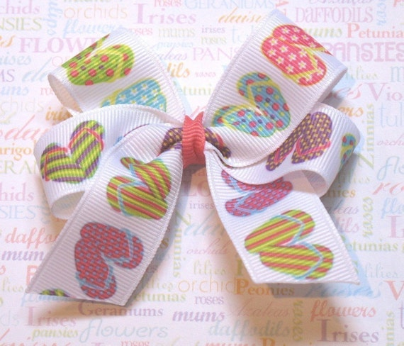 LiliBug FLIP FLOPS Beach Summer Hair Bow