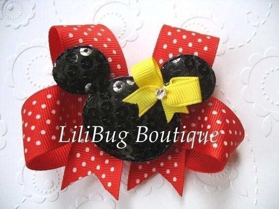 LiliBug Minnie Mouse HairBow with Swarvoski Crystal