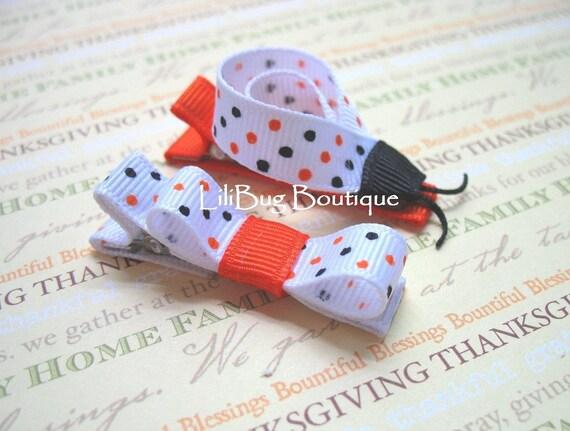 LiliBug HALLOWEEN Orange Black Polka Dot LADYBUG Hair Clippie Set
