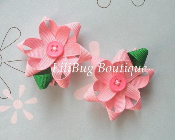 LiliBug Pink Flower Hair Bow Set