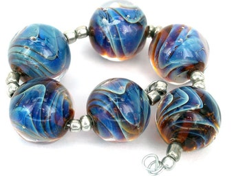 Pearly Waves Lampwork beads (6) SRA