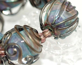 Blue and metallic 18mm round Handmade lampwork glass beads SRA set of 6 made by pearly karpel MTO Lampwork Beads glass beads