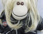 Custom Order Harley Biker Chick Lisa  Sock Monkey
