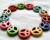15mm Magnesite Peace Sign Beads Colorful Mix