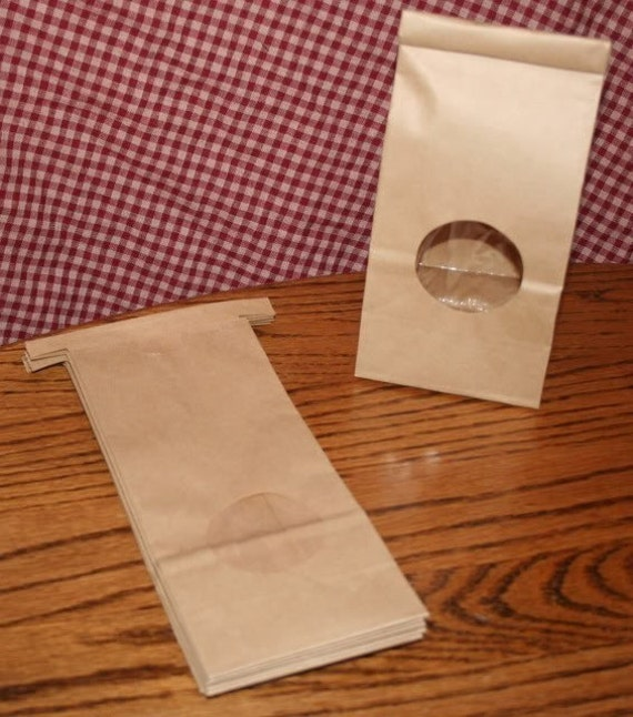 100 Half Pound Kraft Tin Tie Bags with Window 1/2 LB