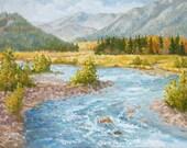 Original Oil Painting - Landscape - River - Mountains - Rocks