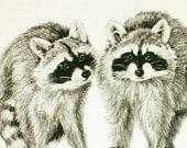 Christmas Card - raccoons - Our Gang