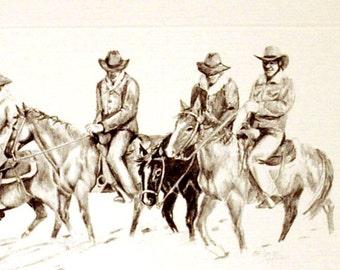 Christmas Card - Cowboys - Horses