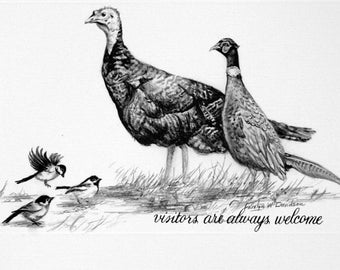 Christmas Card - Birds - Chickadees, pheasant, turkey - Visitors are Always Welcome