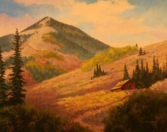 Original Oil Painting - Landscape - Mountain Cabin