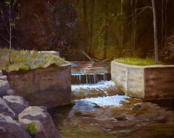 Giclee Print, diversion dam, water, stream, trees, rocks