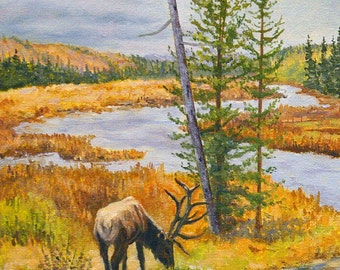 Original Oil Painting - Landscape with Elk - River - Trees