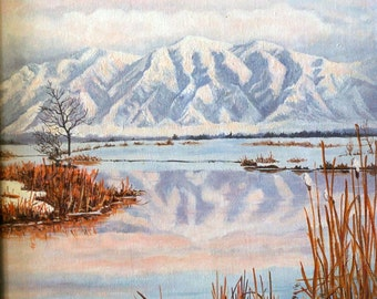 Original Oil Painting - Landscape - Mountains - River - Winter