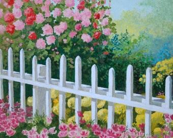 Original Oil Painting - Flowers - Pickett Fence - hollyhocks