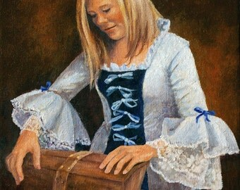 Original Oil Painting - Portrait - Pioneer Girl - Ribbons and Lace