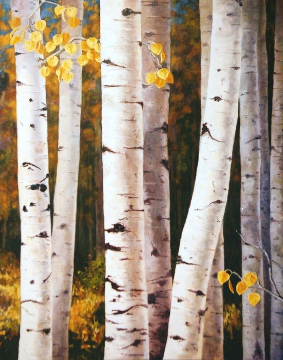Giclee Print - Fall Quaking Aspen Trees - White Gold