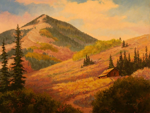 Original Oil Painting - Landscape - Mountain Cabin