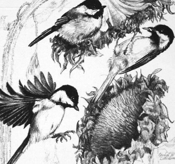 Christmas Card - Chickadees - Sunflower Seeds