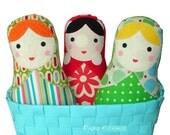 Baby Gift Set - 3 Piece Matryoshka Babushka Russian Cloth Doll Set