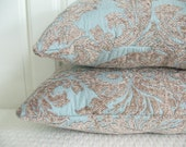 STORE CLOSING SALE French Blue Damask Mini Pillow Set - (2) 12x8 in