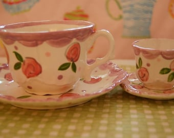 Tea for Two Doll & Girl matching tea cup sets