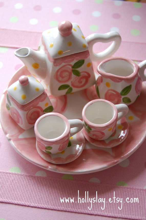 Tiny Tea for Two -- Doll tea set, handpainted and personalized