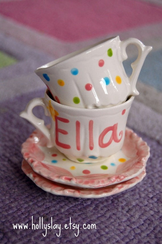 Polka Dots Personalized Child's Sized Handpainted Tea Cup and Saucer, Tea Party Favor