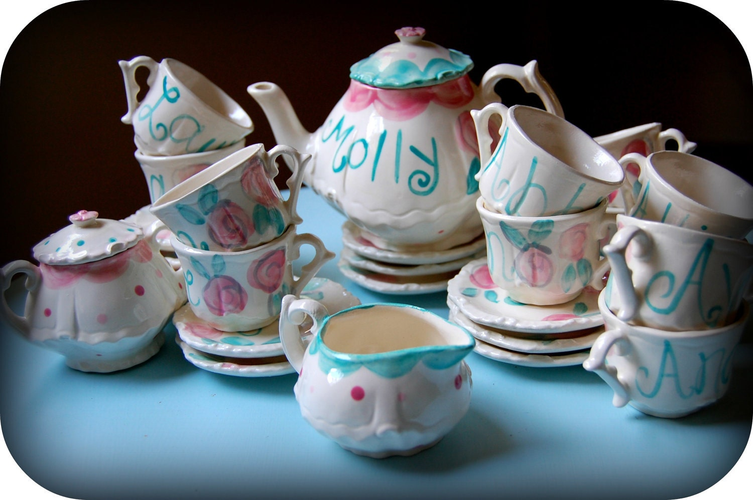 Shabby chic tea party vintage looking pink and aqua by hollyslay