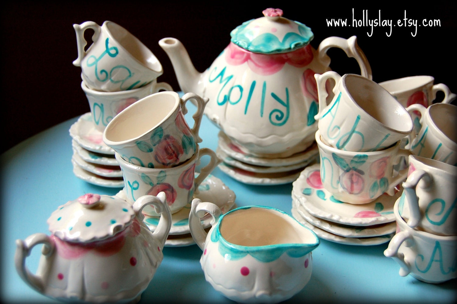 Shabby chic pink and aqua tea set and tea cup party favors for Teacup party favors