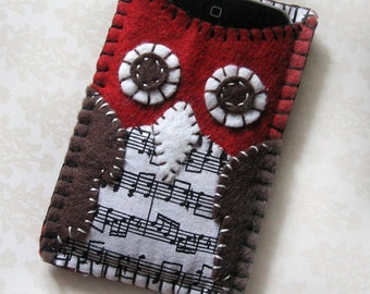 OWL case for the iPhone 6, iPhone owl case, wool felt owl case