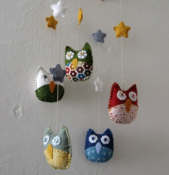 Owl Mobile - Made to Order - as featured on Parents.com