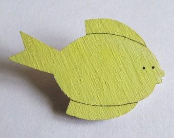 SALE Painted Lemon Fish Badge Pin