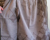 Vintage Brown gingham apron with brown stitched design