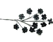 4 STEMS - 12 Tiny Black Flowers on Wired Stem - Bridal Embellishment WHOLESALE