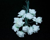 12 White Mini Roses Wire Bunch Wedding Decor Flower Girl Bouquet Floral Arrangment Supply Artificial Flowers