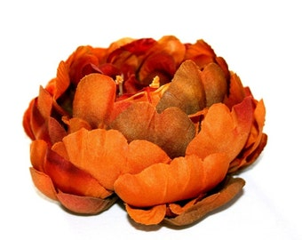 Full Brown, Red and Orange Fall Toned Peony  - 5 inches - artificial flowers, silk flowers - ITEM 0731